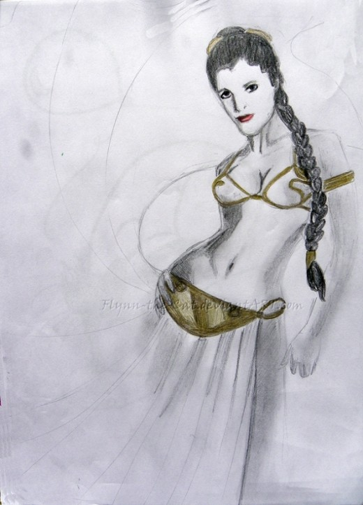 Slave Leia Sketch at Auckland Armageddon (click for blog)