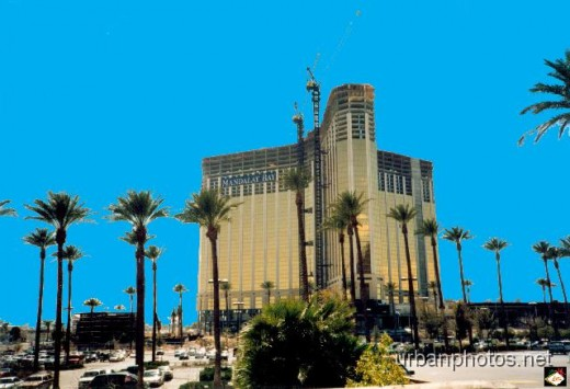 Mandalay Bay under construction, 1998, as seen from the Luxor parking lot.
