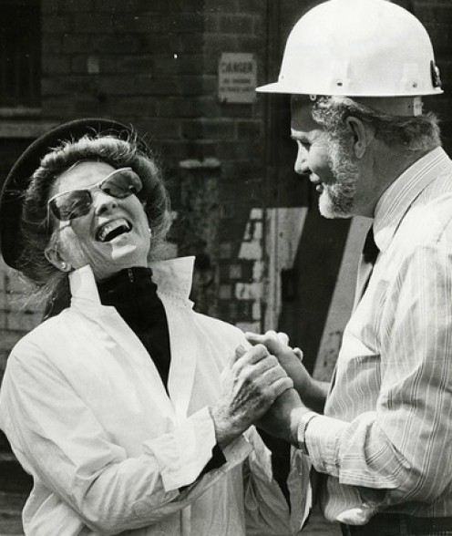 Katherine Hepburn and a construction man