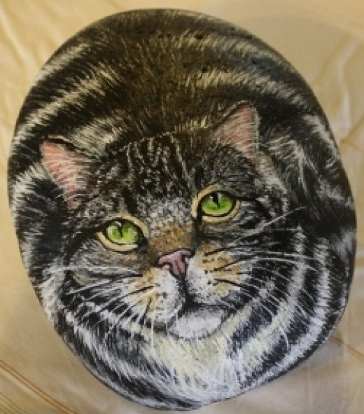 Tabby Cat, acrylic on stone, Mary Hysong
