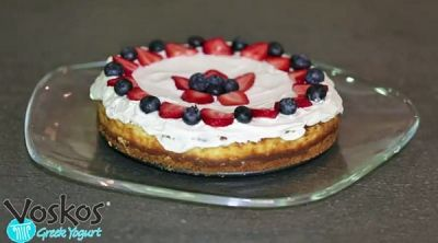 Cheesecake recipe featuring high-protein Voskos Greek Yogurt