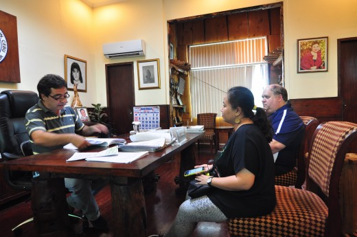 Meeting with Medellin, Cebu Mayor Ricardo Ramirez to coordinate relief out reach.