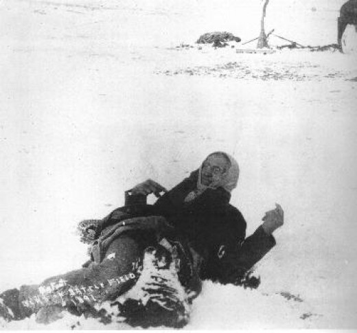 Miniconjou Chief Big Foot lies dead in the snow. He was among the first to die on December 29, 1890