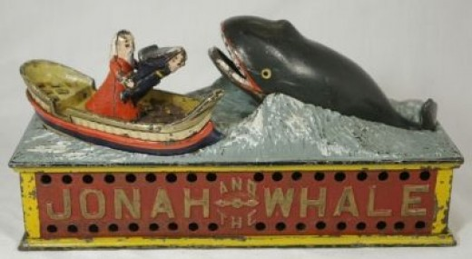 Jonah and the Whale Antique Mechanical Bank