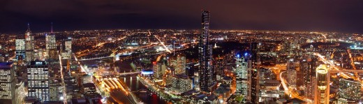 Melbourne's night skyline from the Rialto Observation Deck (Photo by mugley on flickr)