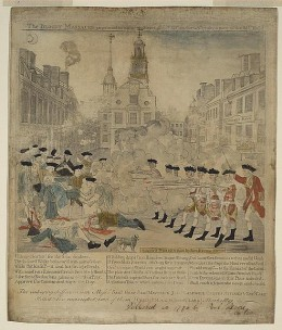Engraving by Paul Revere of the Boston Massacre  (Photo courtesy of U.S. Library of Congress, Prints & Photographs Division,  reproduction number,[LC-DIG-ppmsca-01657])