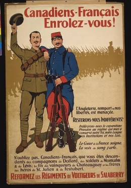 World War I Canadian Poster calling on French Canadians to enlist and fight   (Photo courtesy of U.S. Library of Congress, Prints & Photographs Division, WWI Posters,reproduction number,[LC-USZC4-12727 ])