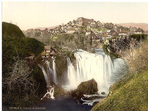 Town of Jajce in Bosnia which sits next to the Waterfall of the Pliva which falls 100 feet from Lake Jezero into the Vrbas  (Photo courtesy of U.S. Library of Congress, Prints & Photographs Division, reproduction number,[ LC-DIG-ppmsc-09306])