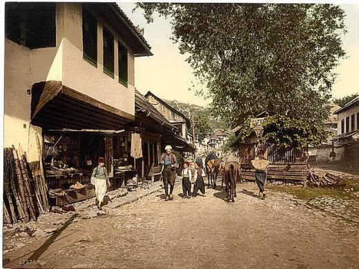 Street scene in Turkish Quarter of Sarajevo, Bosnia in 1890s  (Photo courtesy of U.S. Library of Congress, Prints & Photographs Division, reproduction number,[LC-DIG-ppmsc-09313])