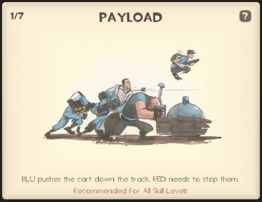 Payload - The aim is for your team to push a bomb into the other teams base.