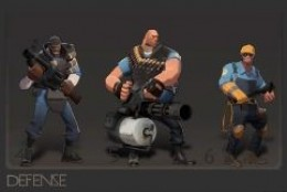 Defense - Made up of the Demoman (with a grenade launcher), the Heavy (with a tommy gun), and the engineer (who can build sentry guns).
