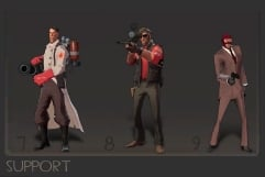 Support - Made up of the Medic (heals teammates), the Sniper (with a sniper rifle), and the spy (who can disguise himself as the enemy).