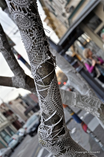 Crocheted trees in Gertrude Street, Melbourne.
