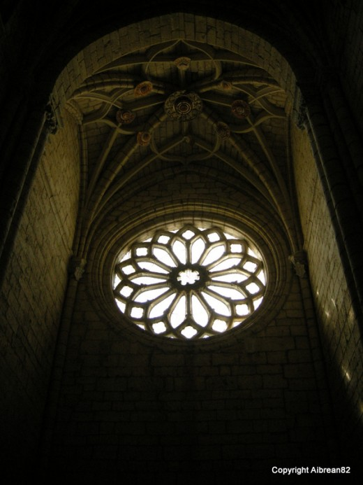 One of the beautiful windows in the Burgos Cathedral, Spain.