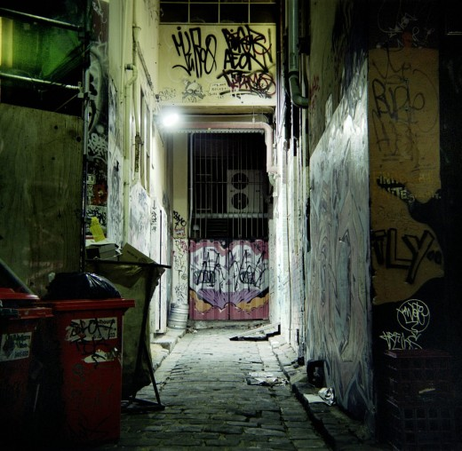 A typical, dirty Melbourne alley. Melbourne is renowned worldwide for its abundant street art.