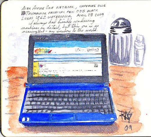Ink and watercolor sketch of Acer Aspire One netbook by Robert A. Sloan