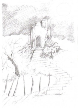 The ruined temple has been sketched in and has been developed.