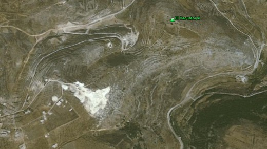 The road at the lower right is the valley, IDF tanks climbed up just below the white area.