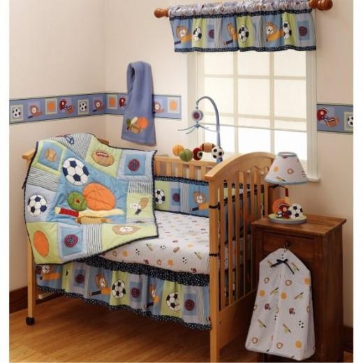 Bedtime Originals Super Sports 4-Piece Baby Crib Bedding Set