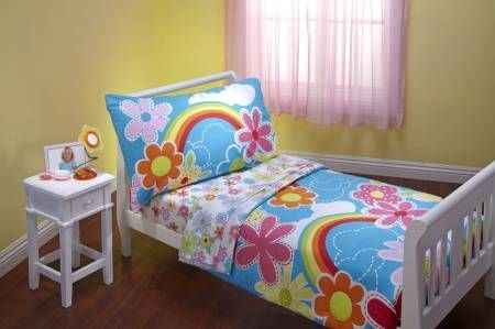 4 Piece Toddler Bedding Set,Turquoise - Pink