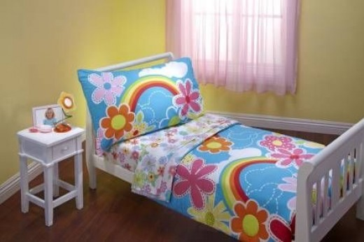 4 Piece Toddler Bedding Set,Turquoise - Pink