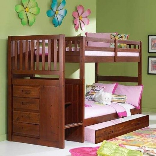 Twin Twin Staircase Bunk with Trundle