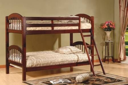 Wood Arched Design Convertible Bunk Bed, Twin, Cherry Finish