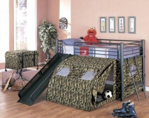 Lofted Bunk Bed with Slide and Tent
