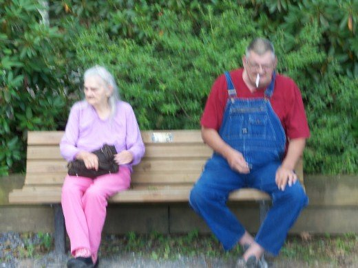 In August 2014, Bill and I took his mom on a trip to a local state park. His oxygen supply was in the car not far away. He still has his cigarette break.