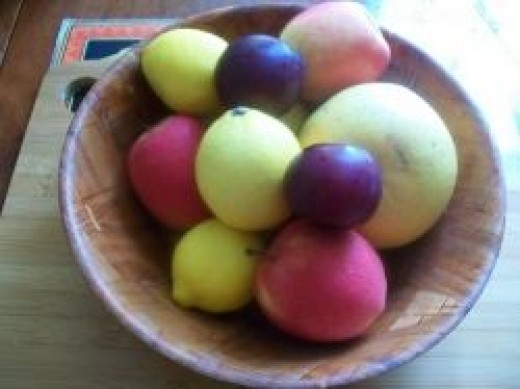 Unpeeled Fruit In Bowl