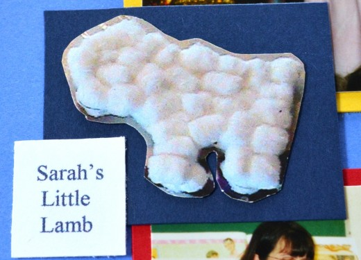Here is a close-up of a photo of the little lamb she made for her Christmas play.