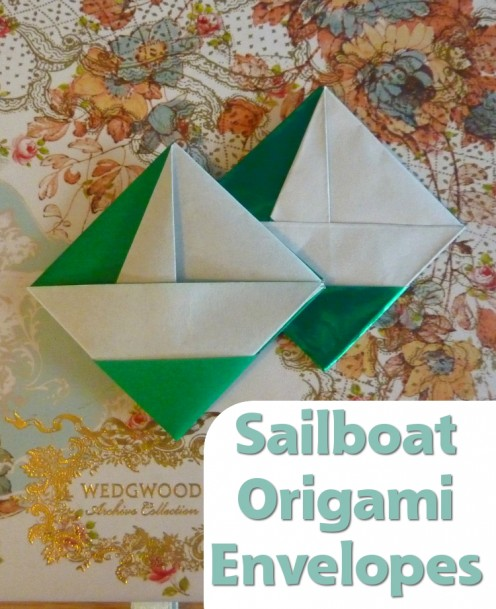 A charming sailboat origami envelope design which you can fold from The World's Best Origami Book.