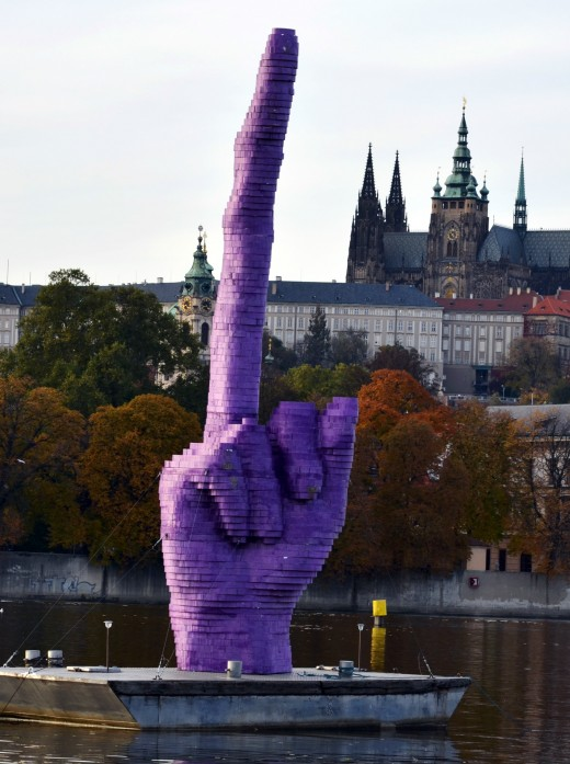 A CZECH ARTIST CREATED A HUGE SCULPTOR IN PROTEST OF A POSSIBLE COMMUNIST VICTORY IN THE 2013 PARLIAMENTARY ELECTIONS.