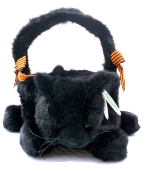 Jinx, fluffy black cat basket
