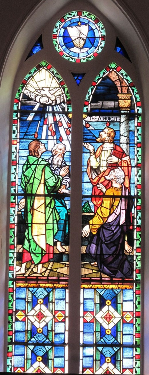 Stained glass window at St. Matthew's German Evangelical Lutheran Church in Charleston, South Carolina
