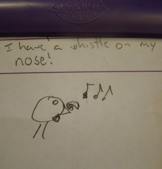 Drawing for: I have a whistle on my nose.
