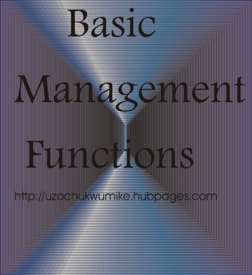 An illustration on basic management functions. The functions of managers.