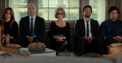 """The Altman Family (From left to right) Wendy (Tina Fey), Paul (Corey Stoll), Hillary (Jane Fonda), Judd (Jason Bateman), and Phillip (Adam Driver), sit on the low stools of Shiva in """"This Is Where I Leave You""""."""