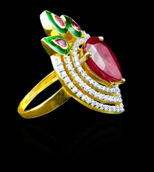 Ruby ring with diamond studded in gold, see enameling work