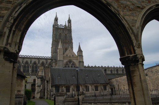 The famous Gloucester Cathedral photographed through the Infirmary Arches