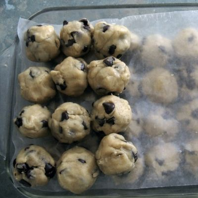 Cookie dough ready to freeze