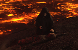 The Emperor recovering a critically burned Anakin