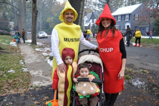 Family BBQ costume featuring everyone's favorite cookout foods and condiments
