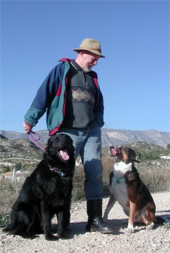 My husband with both dogs on his morning walk