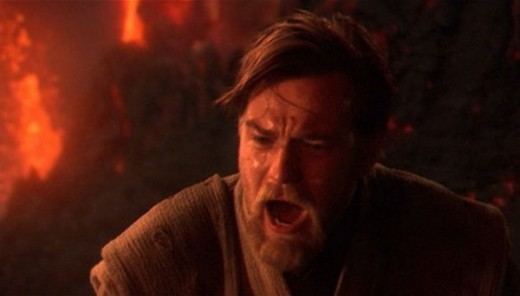 Obi-Wan expressing his grief for having to mutilate his former apprentice
