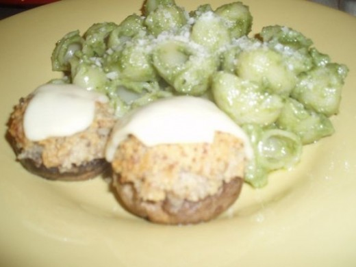 Vegetarian Stuffed Mushrooms - Serving Suggestion