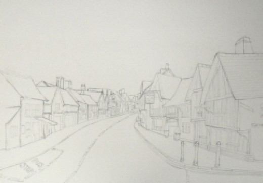 Detailed sketch of Lavenham, copyright Michele Webber