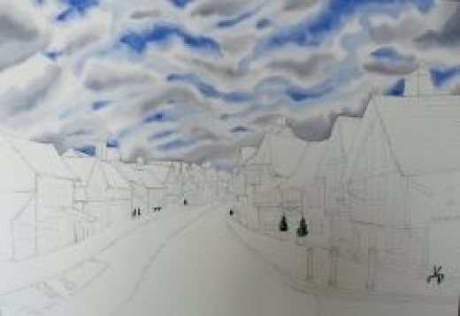 Clouds, second layer, Lavenham, copyright Michele Webber