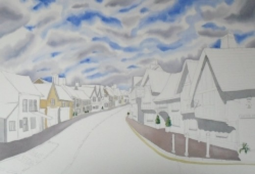 Lavenham watercolour copyright Michele Webber