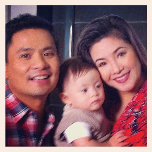 Regine Velasquez with husband Ogie Alcasid and son, Nate